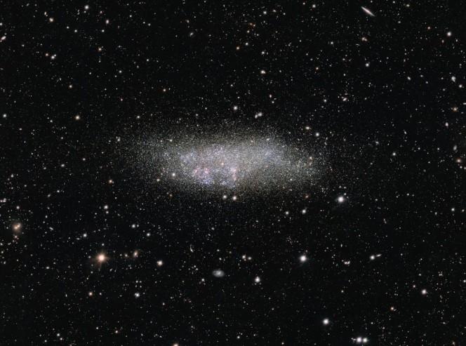 Questa immagine, catturata dallo strumento OmegaCAM montato sul telescopio per survey VST (VLT Survey Telescope), mostra una galassia solitaria nota come Wolf-Lundmark-Melotte, o WLM in breve. La galassia è così piccola e isolata che probabilmente non ha mai interagito con le altre galassie del Gruppo Locale - o forse addirittura con nessun'altra galassia nella storia dell'Universo. Crediti: ESO, Acknowledgement: VST/Omegacam Local Group Survey