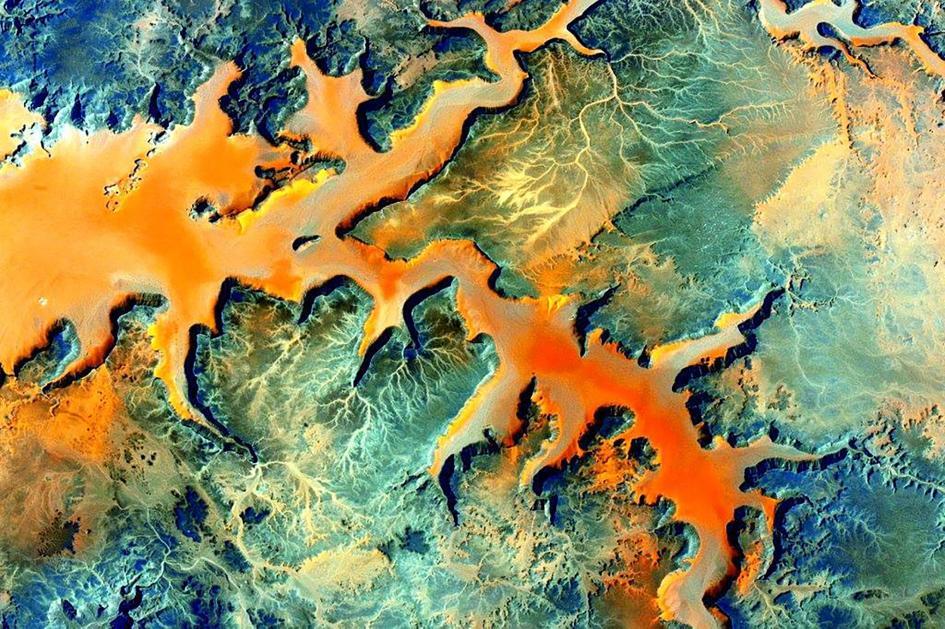 Qesm Al Wahat ad Dakhlah, in Egitto, una regione del Sahara meridionale vicina al confine con la Libia. Crediti: Scott Kelly/NASA