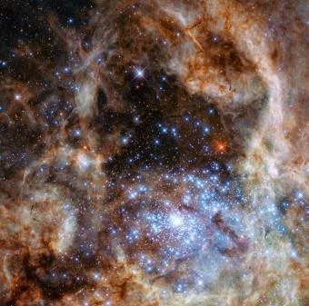 La regione centrale della nebulosa della Tarantola, nella grande Nube di Magellano. Il giovane ammasso stellare R136 è visibile nella zona in basso a destra dell'immagine. Crediti: NASA, ESA, P Crowther (University of Sheffield)