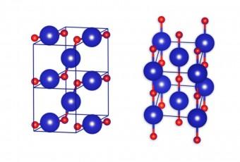 Questa immagine mostra le strutture cristalline di monossido di kripton (KrO): quella più stabile a sinistra, quella meno stabile a destra. Gli atomi kripton sono rappresentati con il colore blu, mentre quelli di ossigeno sono di colore rosso. Crediti: IPC PAS