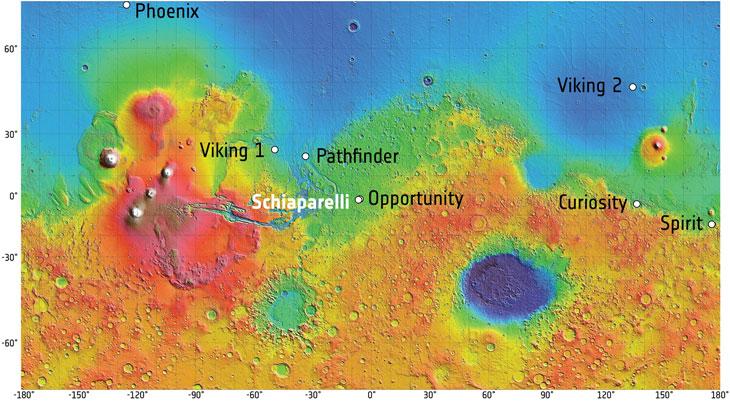 Il lander Schiaparelli vicino alle altre missioni sul suolo marziano