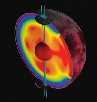 Rappresentazione artistica del cambiamento del polo di rotazione della Luna da quello che risale a circa 3 miliardi di anni fa (in verde) a quello attuale (in blu). Lo studio pubblicato su Nature da Siegler e colleghi dimostra che uno spostamento di massa ha comportato la variazione di posizione dell'asse. Crediti: James Keane, U. of Arizona
