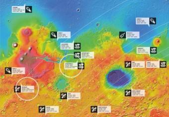 Infografica: tutte le missioni su (e attorno a) Marte. Clicca sull'immagine per ingrandirla. Crediti: Google Mars. Grafica: Davide Coero Borga - MediaINAF.