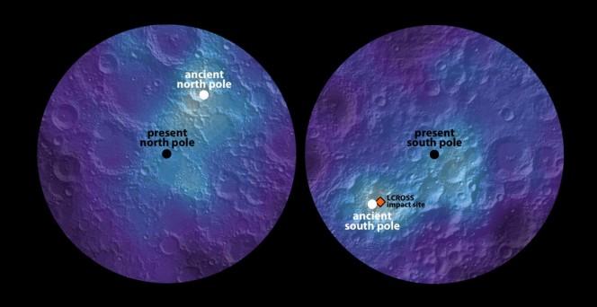 Nella mappa lunare sono indicati in nero il polo nord (a sinistra) e il polo sud (a destra) attuali, mentre in bianco sono rappresentati i poli lunari che risalgono a circa 3 miliardi di anni fa. Crediti: James Keane, U. of Arizona