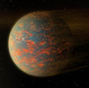 Scorre lava liquida nella faccia più calda di 55 Cancri e, secondo l'ultimo scenario ipotizzato. CreditI: NASA/JPL-Caltech
