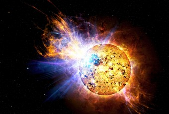 Rappresentazione artistica del superflare prodotto dalla stella EV Lacertae e osservato dal satellite SWIFT il 25 aprile 2008. Crediti: Casey Reed/NASA