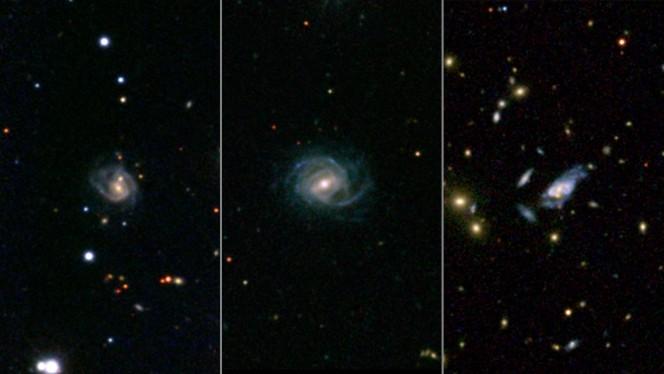 Una composizione di tre immagini raccolte dall'archivio NED. A sinistra: la galassia denominata 2MASX J08542169+0449308, che contiene due nuclei galattici anziché uno. Al centro: 2MASX J16014061+2718161, che pure mostra due nuclei al suo centro. A destra: la galassia gigante SDSS J094700.08+254045.7, che con il suo diametro da 320 mila anni luce è tre volte la nostra Via Lattea. Cliccando sull'immagine è possibile accedere al file ad alta risoluzione. Crediti: SDSS