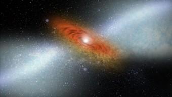 Impressione d'artista del vento di materia che proviene da un quasar, visibile ai margini di un buco nero supermassiccio. Tali venti rallenterebbero il processo di formazione stellare, impedendo alle nubi di gas e polveri di raffreddarsi ed addensarsi. Crediti: Johns Hopkins