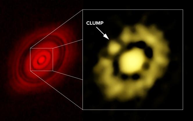 Immagine ALMA (sx) e VLA (dx) del disco protoplanetario di HL Tauri; nel riquadro si può scorgere l'agglomerato di polvere (clump). Crediti: Carrasco-Gonzalez, et al.; Bill Saxton, NRAO/AUI/NSF