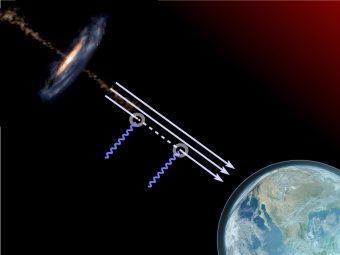 """L'emissione gamma si trasforma in """"Axion-Like Particle"""" nel tragitto fra il suo punto di origine e la Terra. Crediti: Aurore Simonnet / Sonoma State University / NASA / NOAA / GSFC / Suomi NPP / VIIRS / Norman Kuring."""