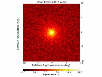 La Luna ai raggi gamma di Fermi. L'immagine è stata realizzata grazie ai dati raccolti dal 2008 al 2015 dal Fermi LAT. Crediti: NASA, DOE, International Fermi LAT Collaboration