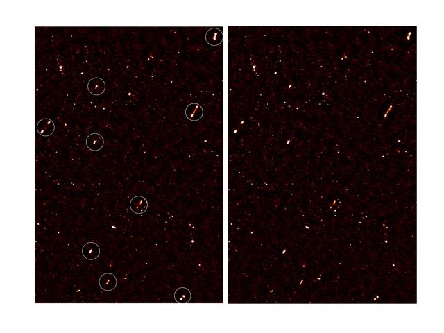 Un'immagine della mappa radio profonda che copre la regione ELAIS-N1, dove sono presenti getti di galassie che sembrano allinearsi in una direzione comune. I cerchi bianchi nell'immagine a sinistra indicano le galassie con un orientamento simile. Credit: Russ Taylor