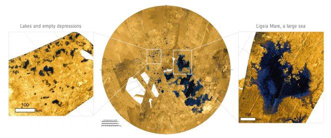 I laghi e i mari di Titano, sulla mappa. Crediti: ESA.