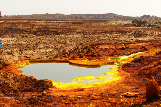 Sistema idrotermale nella depressione di Danakil. I depositi di colore giallo sono una varietà di solfati e le aree rosse indicano depositi di ossidi ferrosi. Crediti: Felipe Gomez/Europlanet 2020 RI