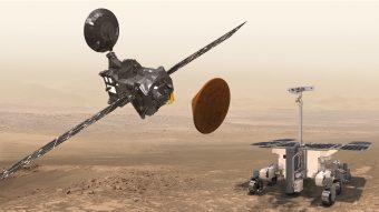 Rappresentazione artistica della missione ExoMars. Da sinistra a destra il Trace Gas Orbiter, il lander Schiaparelli e il rover che raggiungerà Marte nel 2019. Crediti: ESA