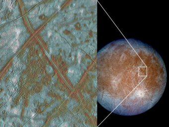 Un'immagine a falsi colori mostra la superficie di Europa. L'inserto mostra alcune regioni in cui le placche si separano e si muovono. Crediti: NASA/JPL