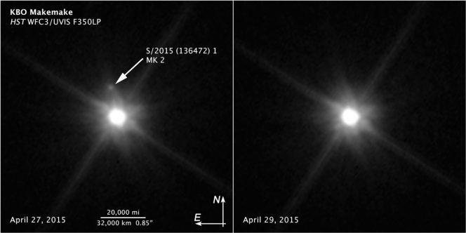 Due immagini acquisite dalla Wide Field Camera 3 a bordo di Hubble, rispettivamente il 27 aprile 2015 (pannello a sinistra) e il 29 aprile 2015 (a destra). Nel primo è possibile individuare, indicato dalla freccia, il satellite di Makemake. Crediti: NASA, ESA, A. Parker e M. Buie (Southwest Research Institute), W. Grundy (Lowell Observatory), and K. Noll (NASA Goddard Space Flight Center)