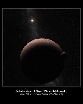 Rappresentazione artistica del sistema composto dal pianeta nano Makemake e il suo satellite. Crediti: NASA/ESA/A. Parker (Southwest Research Institute)
