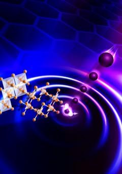 In quest'immagine, l'eccitazione d'un liquido di spin in un reticolo a nido d'ape con neutroni. Crediti: Genevieve Martin, Oak Ridge National Laboratory