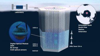 Schema dello IceCube Neutrino Observatory. Crediti: IFIC