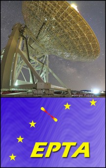 In basso, il logo della collaborazione EPTA. In altro, una foto di SRT, il Sardinia Radio Telescope (crediti: Sergio Poppi)
