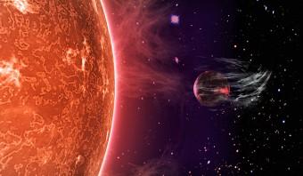 Rappresentazione artistica d'un pianeta al quale la radiazione proveniente dalla vicina stella madre strappa l'atmosfera. Crediti: Peter Devine