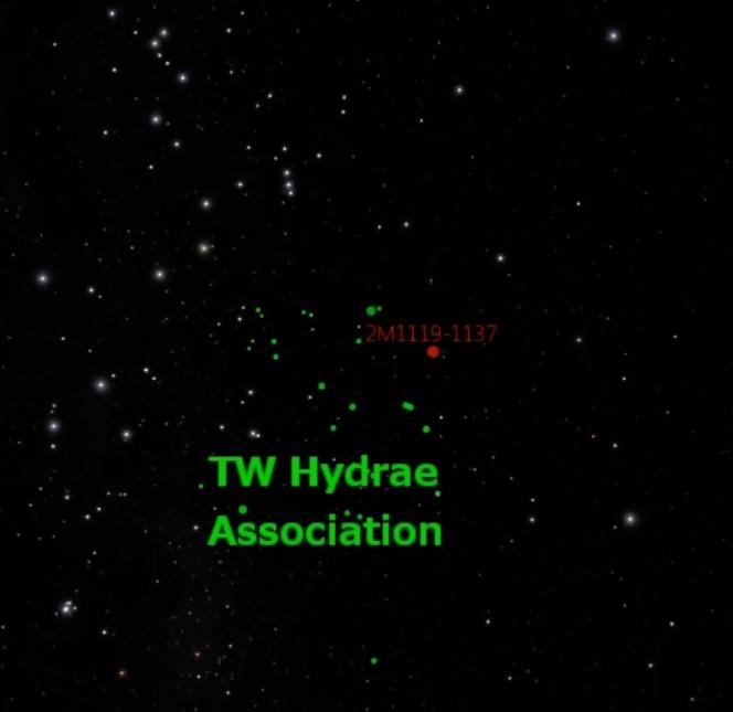 2MASS J 1119-1137 appartiene al giovane gruppo di stelle chiamato TW Hydrae, che contiene una trentina di stelle di 10 milioni di anni di età. Crediti: David Rodriguez