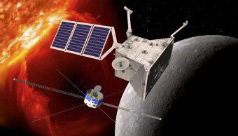 Rappresentazione artistica della missione BepiColombo in orbita attorno a Mercurio. Crediti: ESA