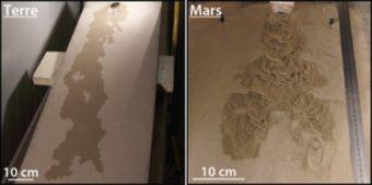 Confronto delle morfologie formate dal flusso di acqua sui terreni di tipo terrestre (a sinistra) e marziano (a destra). Crediti: Marion Massé