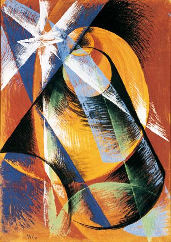 Mercurio passa davanti al Sole visto nel cannocchiale. (1914. Tempera su tela 138x99 cm. Sammlung Mumok. Cortesia del Museum Moderner Kunst, Vienna, Austria.