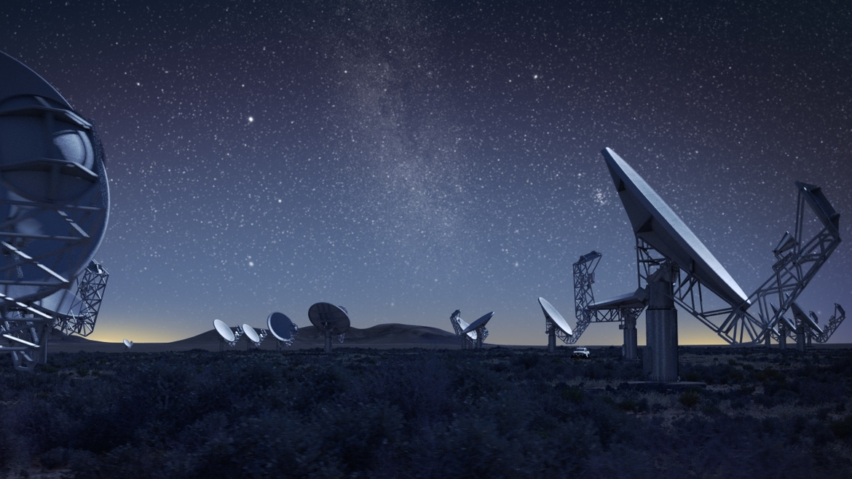 Rappresentazione artistica dei radiotelescopi MeerKAT nel deserto di Karoo in Sudafrica. Crediti: SKA Africa