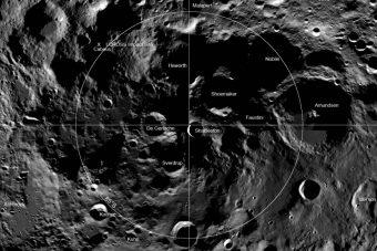 I crateri sul polo Sud della Luna. Crediti: NASA.