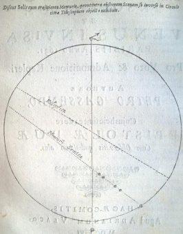 Il transito di Mercurio osservato Pierre Gassendi nel 1631. Fonte: Mercurius in sole visus, 1656