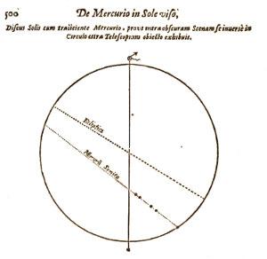 Immagine realizzata da Pierre Gassendi in occasione del transito di Mercurio del 7 novembre 1631
