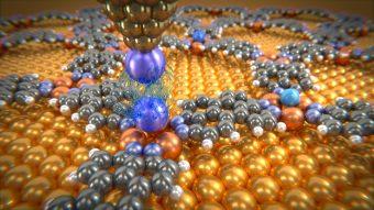 Una manciata di atomi di gas depositati su una griglia di molecole che interagisce con un atomo di xenon: ecco l'esperimento per osservare da vicino le forze deboli di Van der Waals. Crediti: Università di Basilea.