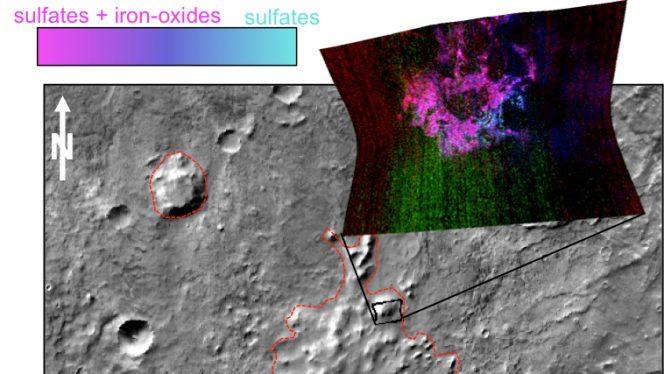 Nell'immagine sono illustrati i risultati ottenuti dallo strumento CRISM a bordo del Mars Reconnaissance Orbiter della NASA nella regione del Sisyphi Montes. Il sito si trova lontano da qualsiasi strato di ghiaccio attuale, in una zona dove la morfologia dei rilievi è stata interpretata come il risultato di un vulcanesimo subglaciale. I minerali rilevati dalla sonda sembrano indicare che questa ipotesi è estremamente solida. Crediti: NASA/JPL-Caltech/JHUAPL/ASU