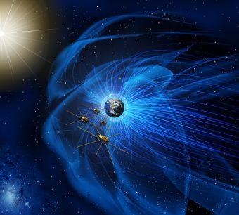 Rappresentazione artistica dei quattro veicoli spaziali che compongono la missione MMS della NASA in formazione. Crediti: NASA
