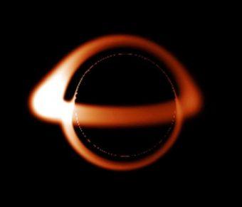 Aspetto previsto di un buco nero non rotante - Crediti: Brandon Defrise Carter. Wikimedia common