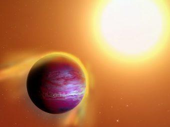 Impressione artistica di un candidato pianeta gigante, chiamato PTFO8-8695 B, che sembra orbitare attorno a una stella nella costellazione di Orione ogni 11 ore. Dalle osservazioni sembra che la giovane stella ospite stia strappando via dal pianeta i suoi strati superficiali ad un tasso molto elevato. Crediti: A. Passwaters/Rice University