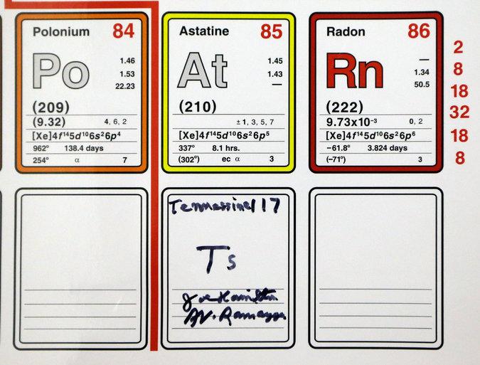 L'elemento 117 si chiama Tennessine, in onore al lavoro dei ricercatori dello stato americano del Tennessee provenienti dalla sede dell'Oak Ridge National Laboratory, dalla Vanderbilt University e dalla University of Tennessee at Knoxville