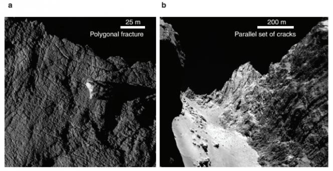 """Diversi tipi di fratture osservate sulla cometa 67P. A sinistra (pannello a) fratture poligonali sul lobo più grande della cometa, dovute probabilmente a deformazioni termiche. A destra (pannello b) fratture parallele all'altezza del """"collo"""" della cometa, ovvero la regione che separa i due lobi. Crediti: ESA/Rosetta/MPS per il team OSIRIS MPS/UPD/LAM/IAA/SSO/INTA/UPM/DASP/IDA"""