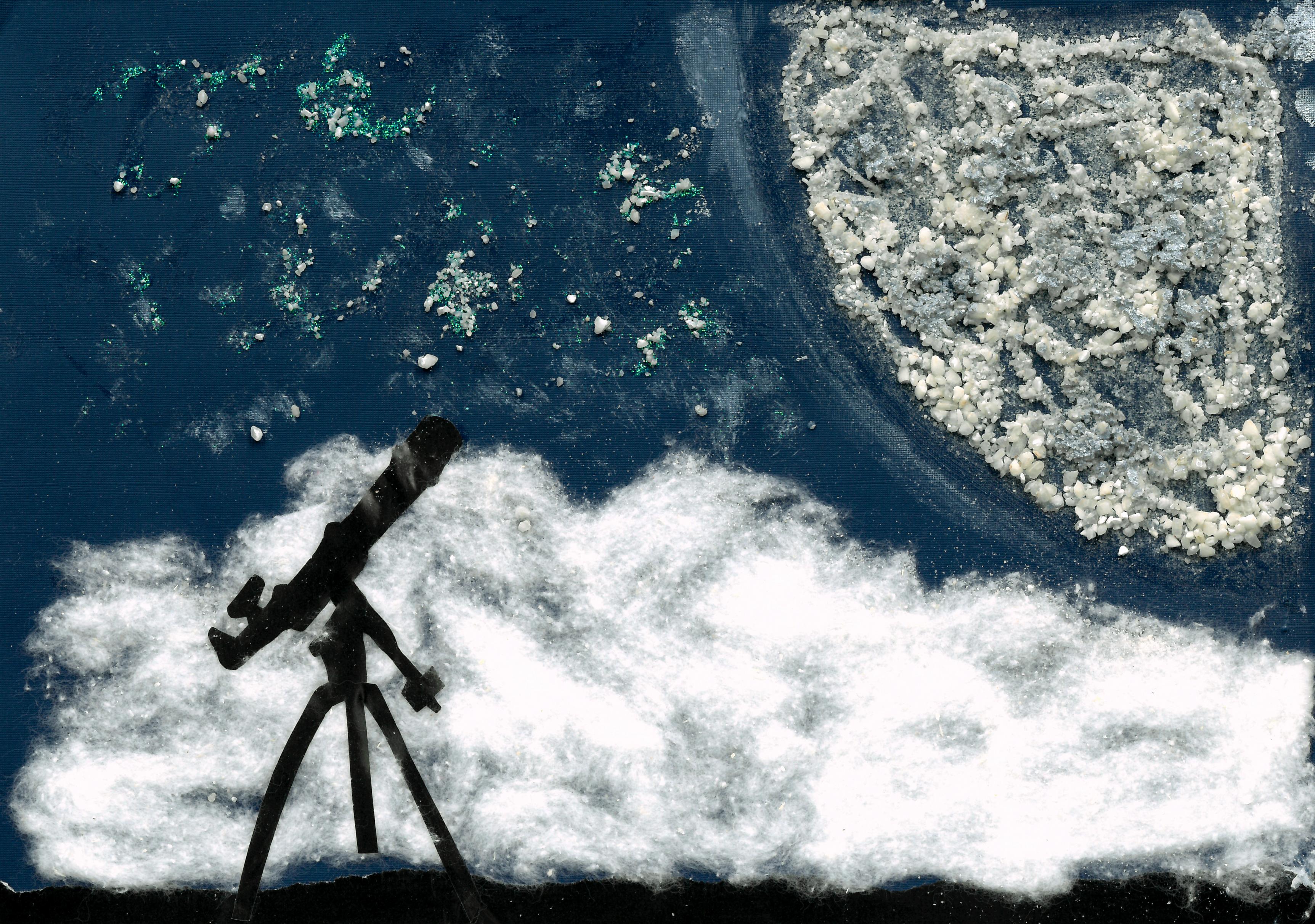 """""""Il telescopio e la Luna"""", di Daniele (11 anni)"""