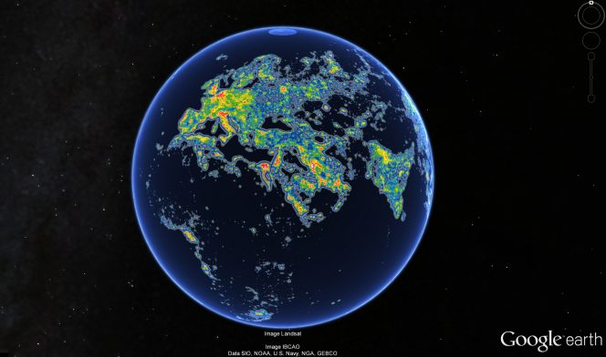 Europe Africa Middle East India - New World Atlas of Artificial Sky Brightness