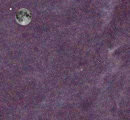 Una regione di cielo osservata da Herschel. A parte la Luna, sovrapposta per mostrare le dimensioni dell'area osservata, e il quadrato bianco, che corrisponde alle dimensioni dell'Hubble Deep Field tutto ciò che appare nell'immagine corrisponde all'emissione proveniente dalle emissioni nel lontano infrarosso della polvere cosmica. Crediti: Herschel ATLAS team/ESA