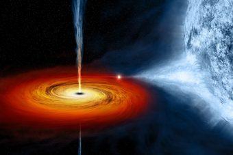 Rappresentazione artistica di un buco nero simile a quello denominato Cygnus X-1, formatosi in seguito al collasso di una stella di grande massa, e che sta attualmente attirando a sé materiale da una compagna massiccia. Crediti: M.Weiss/NASA/CXC