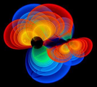 Simulazione della fusion di due buchi neri. Crediti: Michael Koppitz / Albert Einstein Institute
