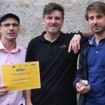 Il team premiato. Da sinistra: Andrea Longobardo, Ernesto Palomba e Fabrizio Dirri