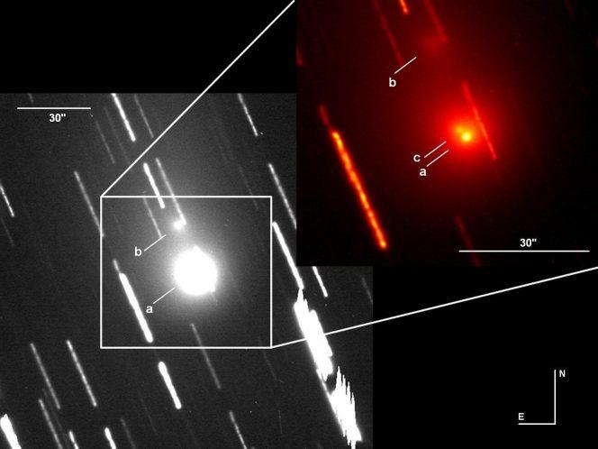 Immagine ripresa con il telescopio da 3.6m TNG (Telescopio Nazionale Galileo) a La Palma, il 25 ottobre 2015. L'immagine a colori nel riquadro è ingrandita 2 volte per mostrare la presenza del frammento C in prossimità del nucleo primario. La barra indica 30 secondi d'arco corrisponde a poco più di 80 mila chilometri alla distanza della cometa.