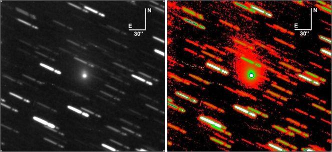 """Immagine della scoperta del nucleo B il 27 agosto 2014, risultante da un tempo di esposizione totale di 40 minuti come somma di singoli fotogrammi. La chioma del nucleo principale è uniformemente diffusa, quasi circolare, con un diametro di 50"""". Il frammento B era una distanza di 7.6"""" dal nucleo primario, corrispondente a circa 19,7 mila chilometri. Una debole coda si sviluppa a PA 20 °. A sinistra: immagine originale. A destra: stessa immagine in falsi colori per evidenziare la coda e la chioma. Immagini riprese con il telescopio Cassegrain da 0.4m della Stazione Astronomica di Sozzago"""