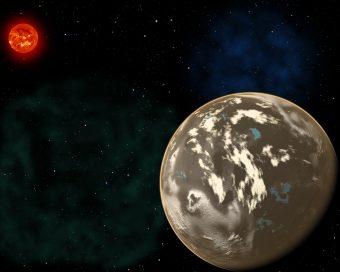 """Rappresentazione artistica d'un pianeta di carbonio in orbita attorno a una stella simile al Sole in un'epoca antica della storia dell'universo. Crediti: Christine Pulliam (CfA); immagine del """"Sole"""" di NASA/SDO"""